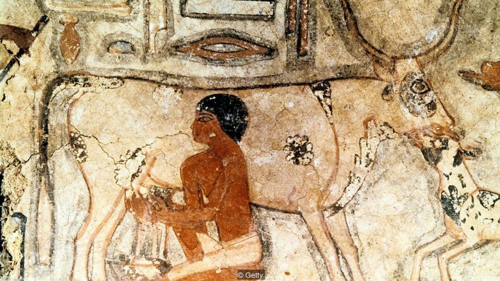 Wall painting from the tomb of Methethi, Saqqara, Ancient Egypt, Old Kingdom, c2371-2350 BC